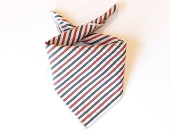 Tie On Americana Seersucker Dog Bandana, Dog Scarf, tie bandana, pet bandana, doggy scarf , scarf for dogs