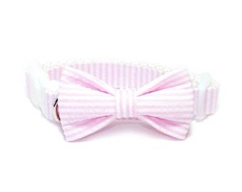Pink Seersucker Dog Collar Bow Tie set, pet bow tie, collar bow tie, wedding bow tie