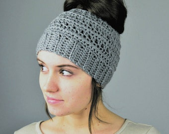 Messy Bun Beanie, Handmade Crochet,  Crochet Hat, Ponytail Hat | Choose Your Color