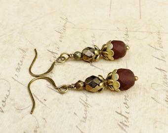 Brown Earrings, Victorian Earrings, Dark Brown Earrings, Iris Earrings, Czech Glass Beads, Antique Gold Earrings, Brown Dangle Earrings