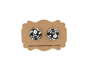 Floral Earrings, Black White Floral Fabric Button Earrings, Floral Studs, Boho Earrings, Girl's Earrings, Monochrome Floral Fabric, Handmade