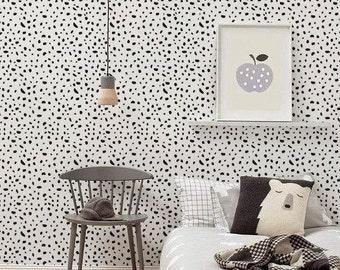 Self adhesive vinyl wallpaper, wall decal - Cheetah pattern- 072 MIDNIGHT/ SNOW