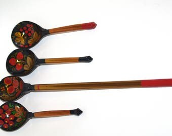 Set of 4 Russian Wooden Spoons Black Golden Khokhloma painting Handmade Spoon Rest Soviet Russian national ornament Decorative Russian Folk