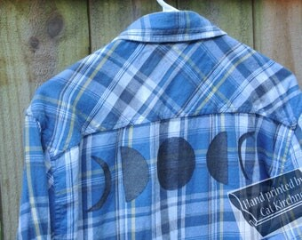 Moon Phase Blue Flannel Top