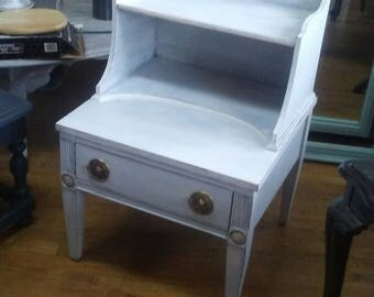 White Painted End Table, Shabby Chic End Table, Farmhouse End Table,  Coastal End