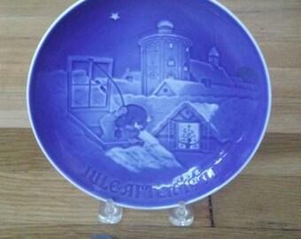 Vintage Christmas Plate, Bing Grondahl Plate, Copenhagen Christmas, Porcelain Plate, Blue Christmas plate, Blue Christmas Decor, Gift Idea