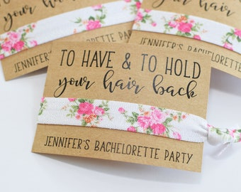 Bachelorette Party Favors//To Have & To Hold Your Hair Back//Nautical Bachelorette Party//Elastic Hair Tie//Creaseless Hair Tie