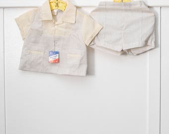 9 months: New Old Stock Shirt and Shorts Set by Cradle Togs, Brown Striped Baby Outfit, With Tag