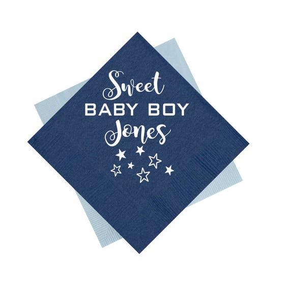 Baby boy shower napkins, baby shower napkins, personalized napkins, custom napkins, personalized cocktail napkins, sweet baby boy napkins