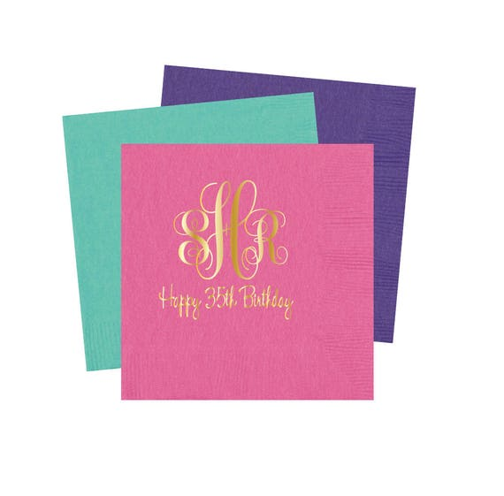 Adult birthday party napkins, monogrammed birthday napkins, birthday party napkins, adult birthday party decorations, party napkins, BN1