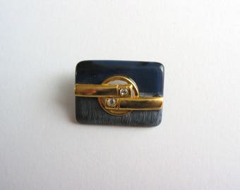 Button length 25mm Navy dark bright Navy matte gold with Rhinestone motif
