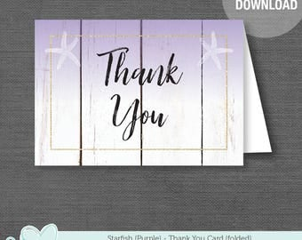 Starfish Purple Thank Card Folded, Bridal Shower, Printable, Instant Download, Bachelorette Party, Lingerie Shower, Party, Anniversary, 52S