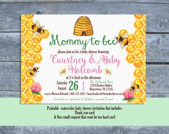 Honey Bee Baby Shower Invitation | Mother to bee baby shower invitation | Bee Baby Shower Package | Printable