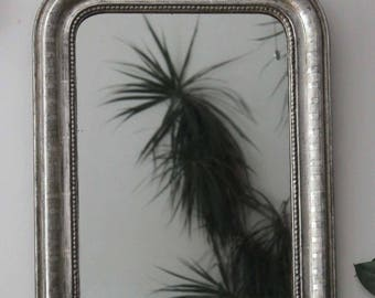 Antique silver mirror: old french mirror with silver leaf