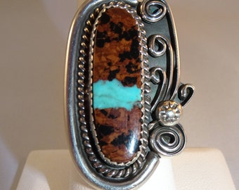 Native American Boulder Turquoise Sterling Silver Ring - FREE SHIPPING