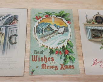 3 Vintage Christmas Post Cards-1900's-Retro Post cards-Scrapbook supply-Junk journal supply-Christmas decor-Christmas gift-Antique cards #8