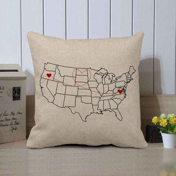 Personalized US Map Pillow CaseCustom World Map Cushion
