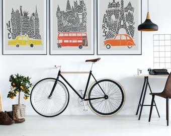 New York, London, Paris Prints, City Set of 3, Gift for Traveller, Boyfriend Gift, Housewarming Gift, World Travel, Living Room Wall Art