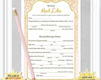 BRIDAL MAD LIBS game with sparkling gold glitter and a pale blush background, Keepsake for the Bride, Bridal Shower activity, 29BR