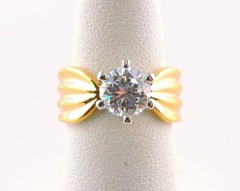 Size 5 18k Gold Plated 1.25ct Round Cubic Zirconia Ring