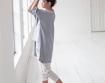 Washed oversized long linen kimono in light elephant grey / Linen cardigan/ Linen jacket