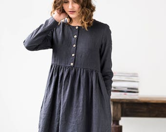 Linen loose MAMA dress with long sleeves and front buttons / Washed and soft linen maternity dress / available in 34 colors