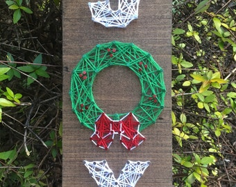 Joy Holiday Wreath Christmas Decor Winter Decor String Art Wood Sign