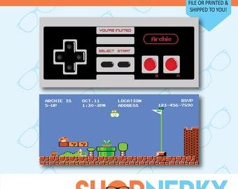 Nintendo Birthday Invitation  |  Printable Super Mario Birthday Invite  |  Personalized Mario Old School Nintendo Controller
