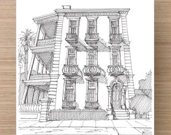 Ink Drawing of a Single House with Porch in Charleston, South Carolina - Drawing, Art, Architecture, Sketch, Pen and Ink, 5x7, 8x10