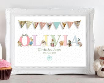 A4 Personalised Peter Rabbit Christening New Birth Birthday Gift/Present Baby Girls. Nursery Wall Art Print/Picture. UNFRAMED