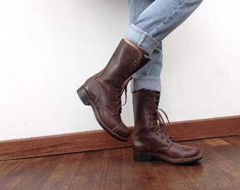 1950s vintage Military Jump Boots INTERNATIONAL SHOE Co. NY - Light Tread , brown leather boots , original , womens 5 , deadstock