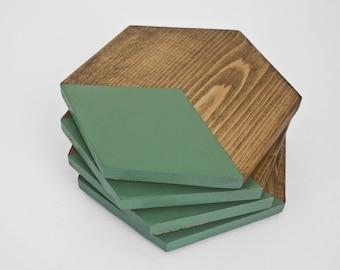 Green Coaster Set | Wood Coasters | Modern Geometric Hexagon Coasters
