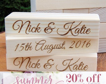 SALE 20% OFF - Custom Wedding Guest Book Alternative | Giant wood blocks, Tower Guest Book, 3D Guest Book, Tumbling Tower, Lawn Game