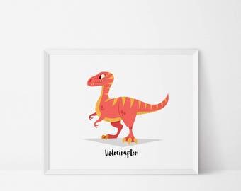 Velociraptor, Dinosaur Wall art, Dinosaur Nursery, Raptor printable, dinosaur print, boys room, Dinosaur decor, dinosaur printable, jurassic