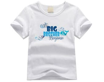 Personalized big brother shirt. Big brother ocean theme. Shark and whale big brother shirt. Big brother announcement. Ocean animals tshirt
