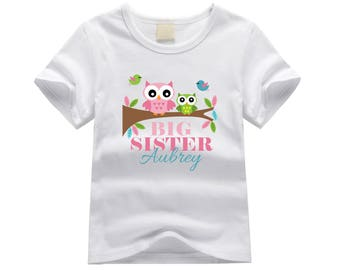 Personalized big sister shirt. Big sister owl theme. Colorful owls big sister shirt. Big sister announcement. Baby owls big sister tee.