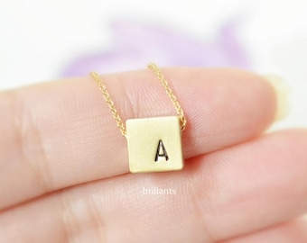 Personalized square necklace, Initial necklace, Layer, Name, Monogram, Everyday necklace, Bridesmaid gift, Wedding necklace