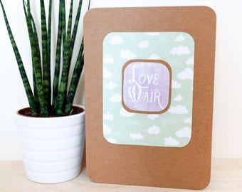 Love is in the Air A6 Card; blank inside, greetings card, new baby, brown kraft, purple, green, cloud, family, thank you, engagement, summer