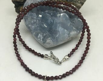 Garnet Choker,  Garnet Chakra Choker,  Necklace Created by Certified Vinyasa Yoga Instructor, Reiki Master and Crystal Healer