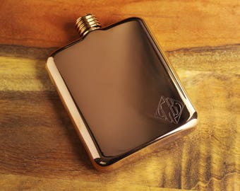 Rose Gold Personalized Flask - Engraved Rose Gold Flask - Personalized Groomsman or Bridesmaid Flask - Best Man Engraved Flask