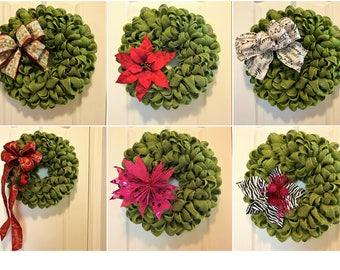 Sage Green Christmas Burlap Wreath ~ Your Choice of Bow/Embellishment!