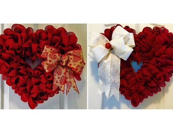 Red Burlap Heart Wreath ~ Christmas, Valentine's Day, Wedding, Anniversary, Everyday Wreath, Patriotic, Gifts