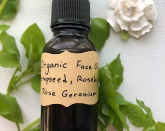 Organic Hempseed Face Oil with Rosehip Seed Oil and Rose Geranium