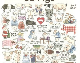 Vintage Counted CROSS STITCH Pattern Book - Pig Designs