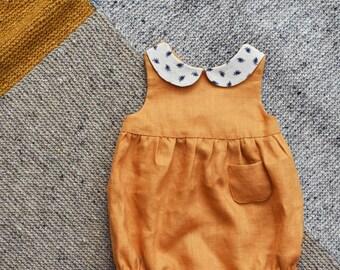 Baby Romper, Linen Romper, Linen Baby Romper, Baby Girl Romper, Peter Pan Collar, Newborn Romper, Mustard Linen Romper, Baby Clothes