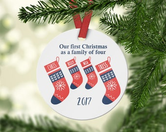 First Christmas as a Family of four - Personalized Family Ornament - Family Gift -  Family christmas decoration