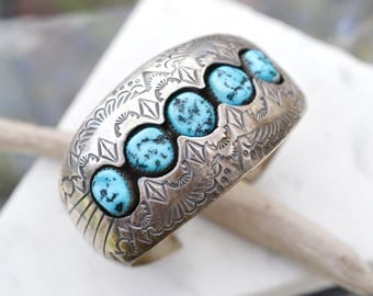 Sterling Silver Signed P BENALLY Native American Turquoise Cuff Bracelet, Sterling Turquoise Cuff, Old Pawn Native American Cuff Bracelet