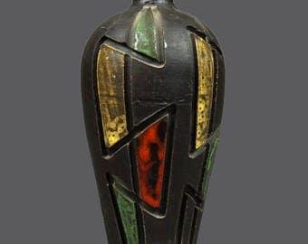 Mid Century Ceramic Italian Vase Brown Green Red Yellow Glaze MCM Modern Art Glass