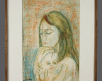 1950s Emma Ferry Watercolor Painting Mother With Child Portrait Vintage Art