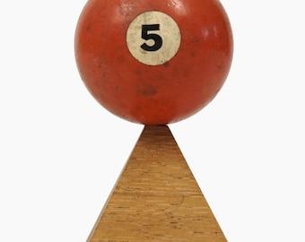 "No. 5 Pool Ball Miniature Clay Billiard Ball Size 1 5/8"" Orange Five V Solid Solids"